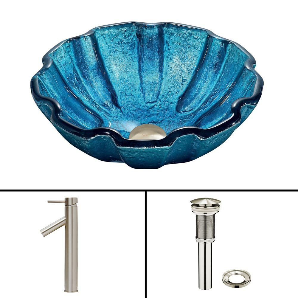 Glass Vessel Sink in Mediterranean Seashell with Dior Faucet in Brushed Nickel