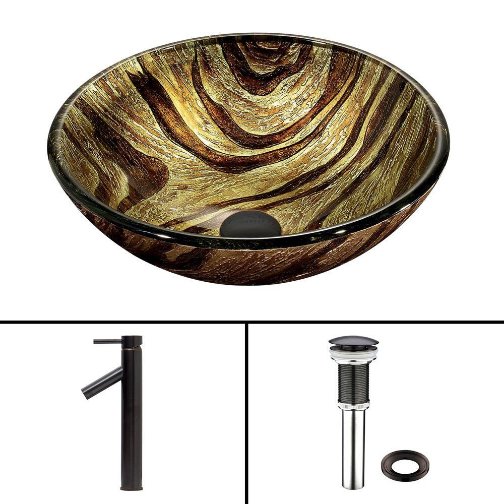 Glass Vessel Sink in Zebra with Dior Faucet in Antique Rubbed Bronze