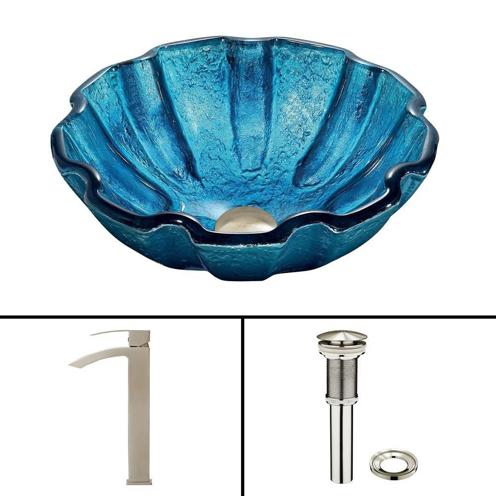 Vigo Glass Vessel Sink in Mediterranean Seashell with Duris Faucet in Brushed Nickel