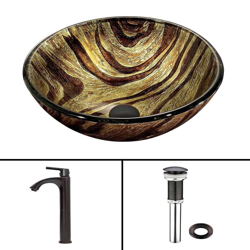 Glass Vessel Sink in Zebra with Linus Faucet in Antique Rubbed Bronze