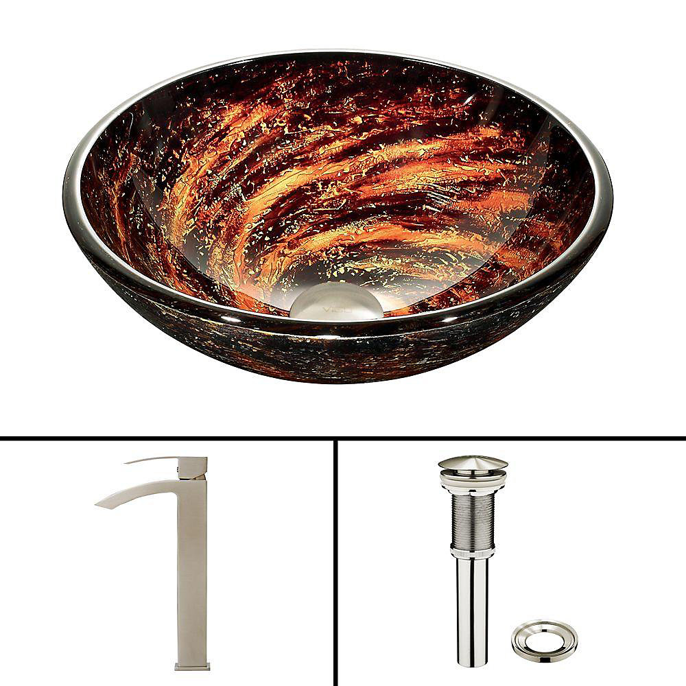 Glass Vessel Sink in Northern Lights with Duris Faucet in Brushed Nickel