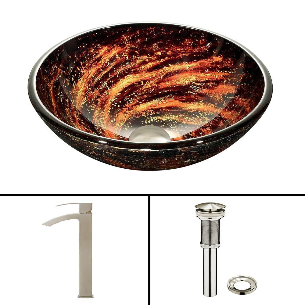 Vigo Glass Vessel Sink in Northern Lights with Duris Faucet in Brushed Nickel