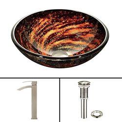 VIGO Glass Vessel Bathroom Sink in Black and Brown Northern Lights and Duris Faucet Set in Brushed Nickel