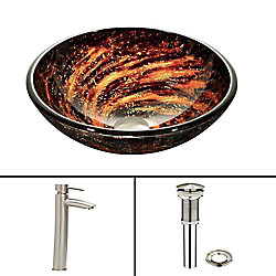 VIGO Glass Vessel Sink in Northern Lights with Shadow Faucet in Brushed Nickel