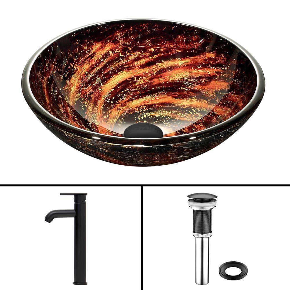 Vigo Glass Vessel Sink in Northern Lights with Seville Faucet in Matte Black