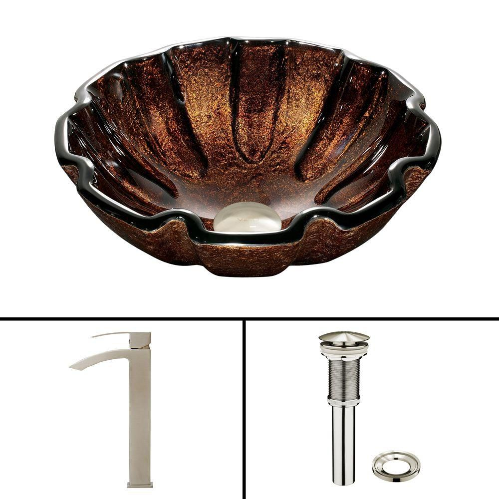 Glass Vessel Sink in Walnut Shell with Duris Faucet in Brushed Nickel