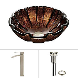 VIGO Glass Vessel Sink in Walnut Shell with Duris Faucet in Brushed Nickel
