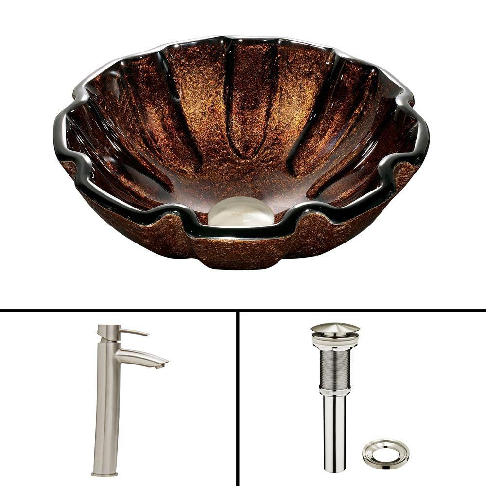 Glass Vessel Sink in Walnut Shell with Shadow Faucet in Brushed Nickel