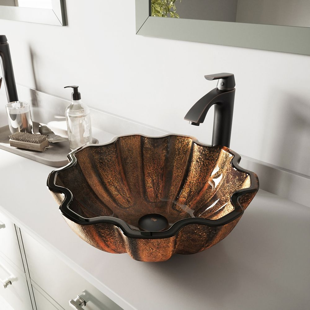 Glass Vessel Sink in Walnut Shell with Linus Faucet in Antique Rubbed Bronze