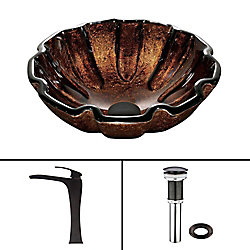 VIGO Glass Vessel Sink in Walnut Shell with Blackstonian Faucet in Antique Rubbed Bronze