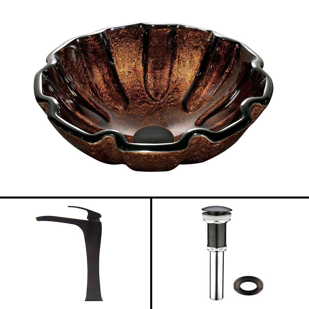 Glass Vessel Sink in Walnut Shell with Blackstonian Faucet in Antique Rubbed Bronze
