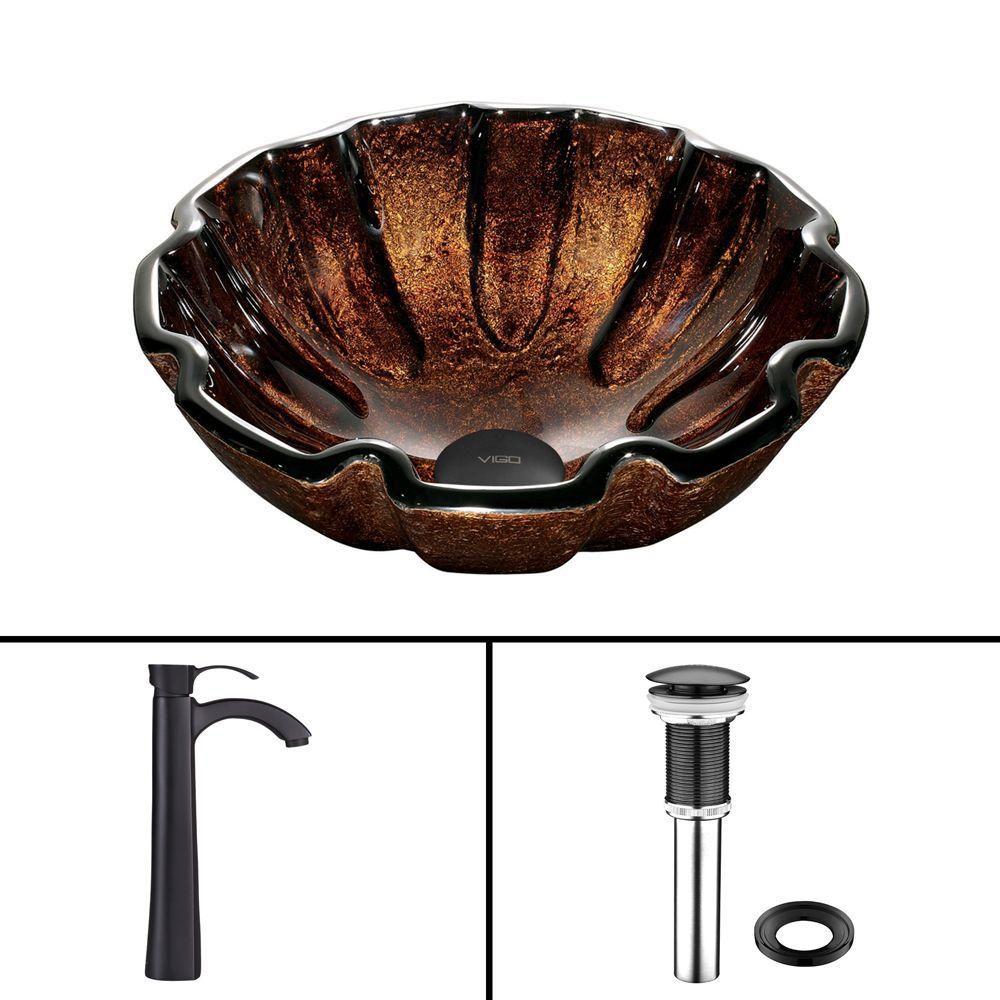 Ensemble Walnut Shell Lavabo en verre et robinet Otis noir mat