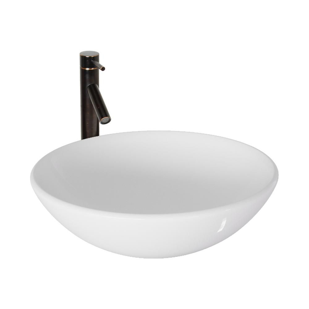 Stone Vessel Sink in White Phoenix with Dior Faucet in Antique Rubbed Bronze