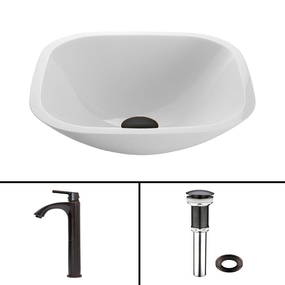 Stone Vessel Sink in White Phoenix with Duris Faucet in Matte Black