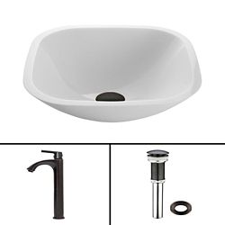VIGO Glass Vessel Bathroom Sink in White Phoenix Stone and Duris Faucet Set in Matte Black