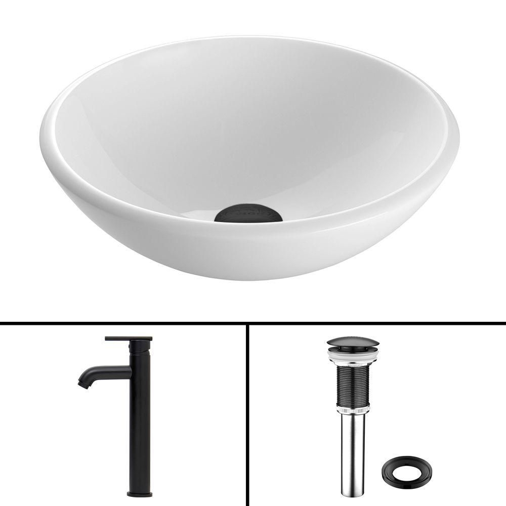 Stone Vessel Sink in White Phoenix with Seville Faucet in Matte Black