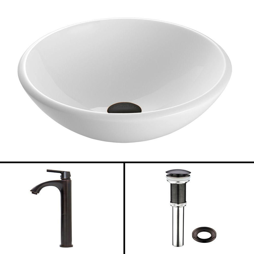 Stone Vessel Sink in White Phoenix with Linus Faucet in Antique Rubbed Bronze