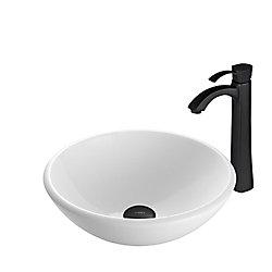 VIGO Glass Vessel Bathroom Sink in White Phoenix Stone and Otis Faucet Set in Matte Black