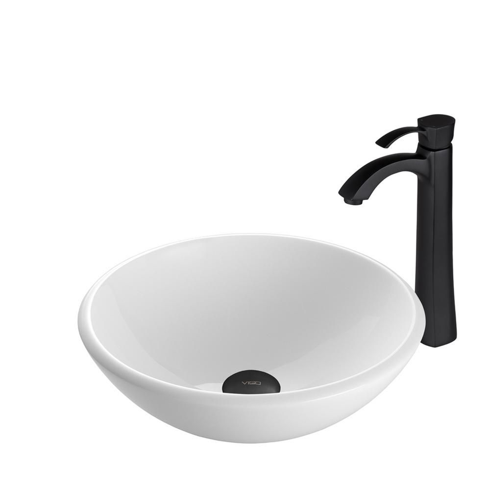 Stone Vessel Sink in White Phoenix with Otis Faucet in Matte Black