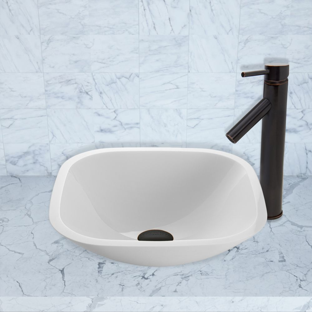 Square Stone Vessel Sink in White Phoenix with Dior Faucet in Antique Rubbed Bronze