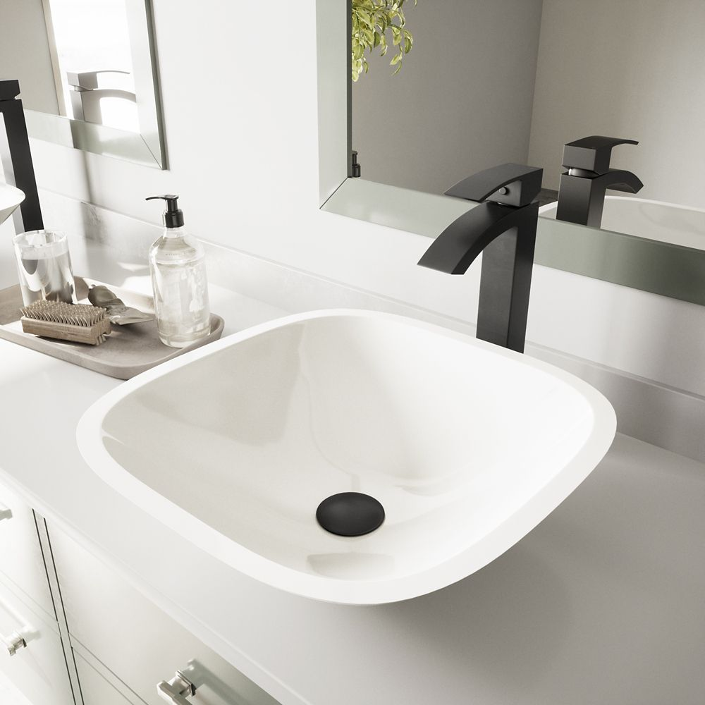 Square Shaped Stone Vessel Sink in White Phoenix with Duris Faucet in Matte Black
