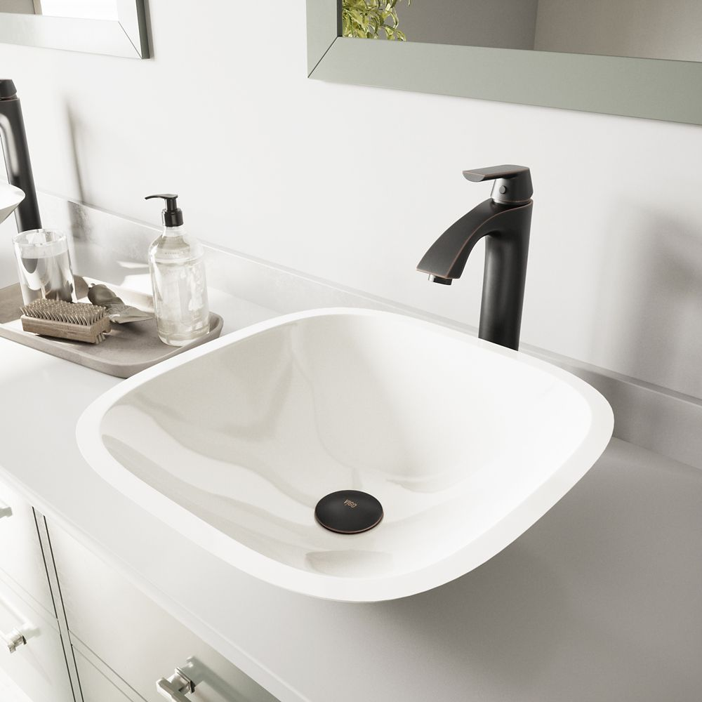 Square Stone Vessel Sink in White Phoenix with Linus Faucet in Antique Rubbed Bronze