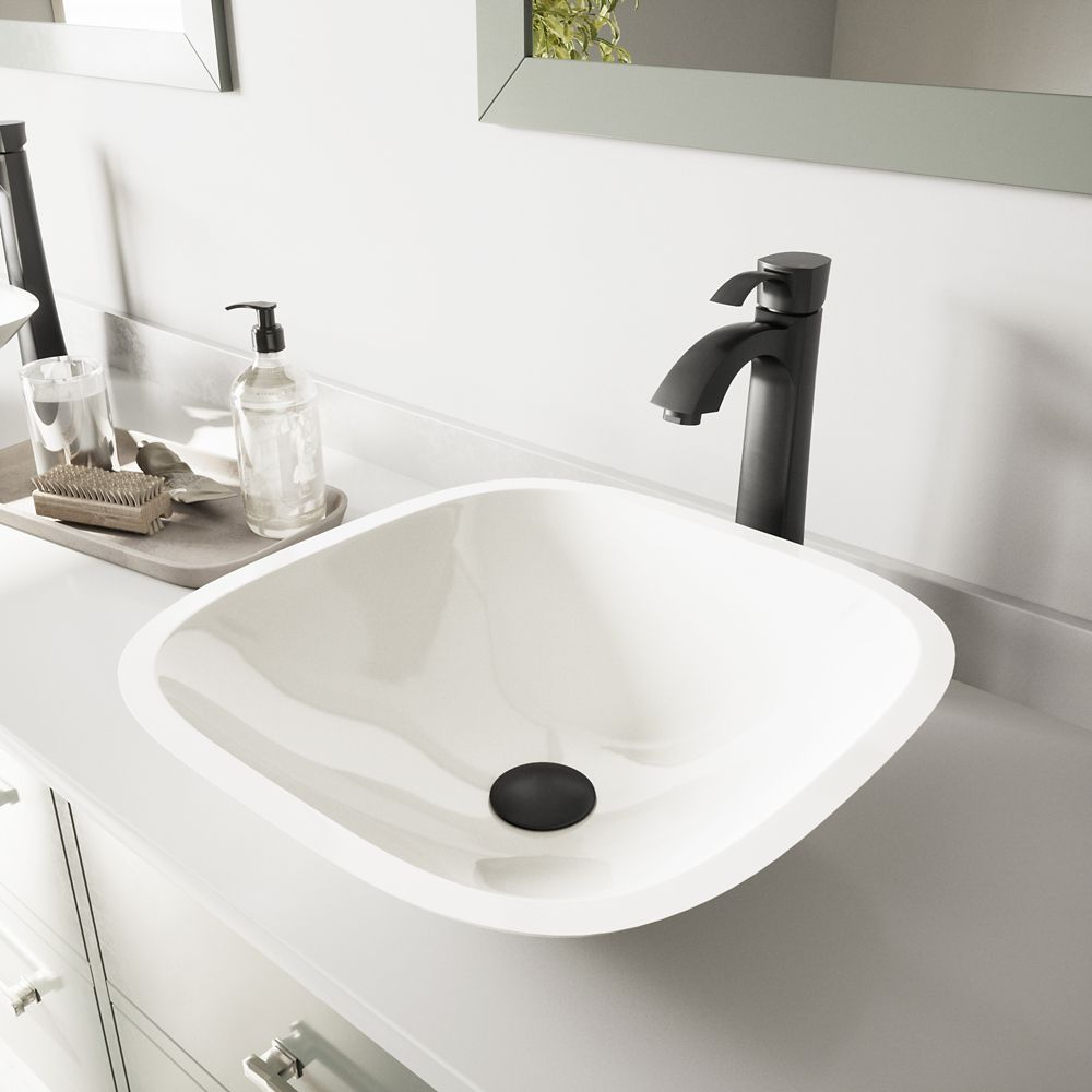 Square Shaped Stone Vessel Sink in White Phoenix with Otis Faucet in Matte Black