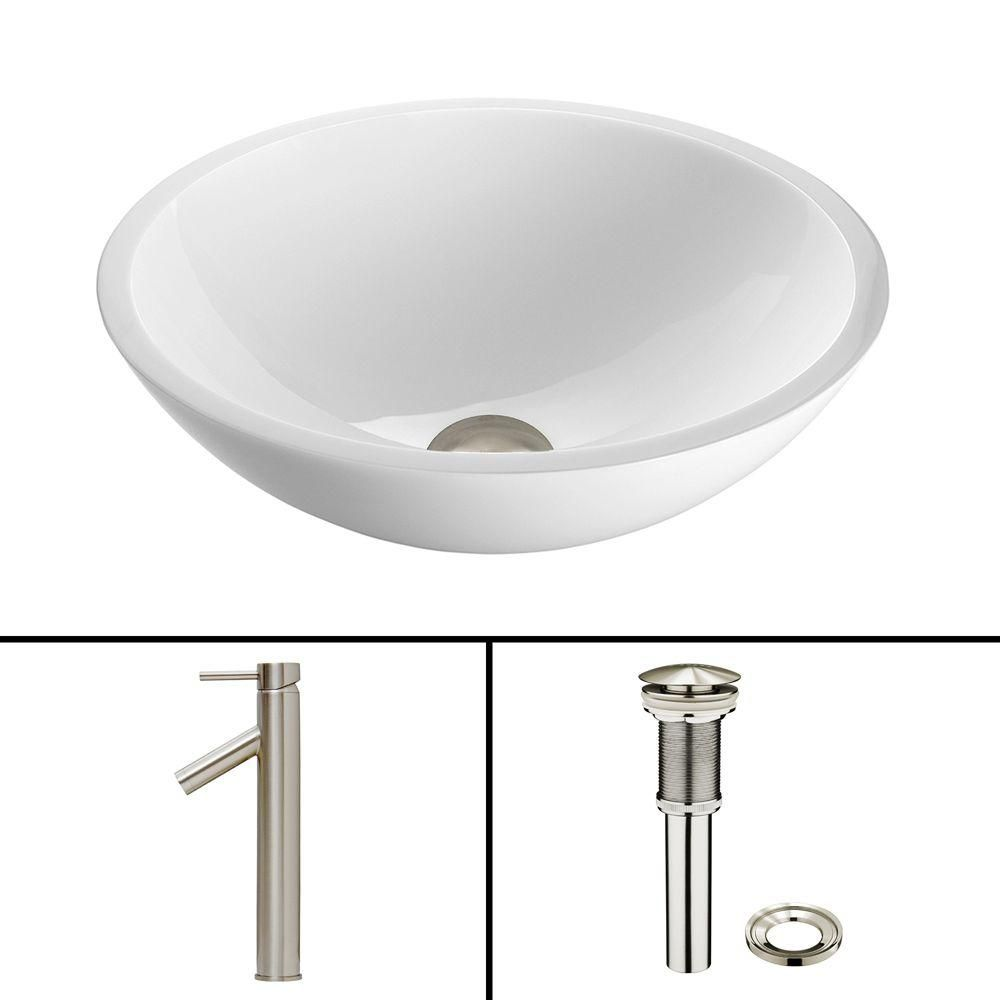 Flat Edged Stone Vessel Sink in White Phoenix with Dior Faucet in Brushed Nickel