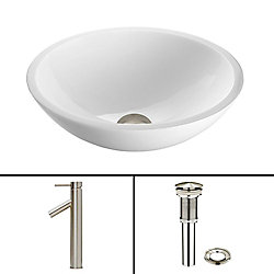VIGO Glass Vessel Bathroom Sink in Flat Edged White Phoenix Stone and Dior Faucet Set in Brushed Nickel