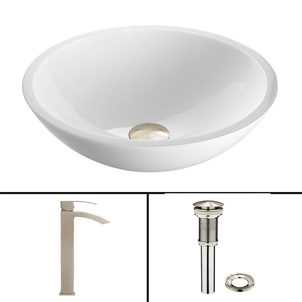 Flat Edged Stone Vessel Sink in White Phoenix with Duris Faucet in Brushed Nickel