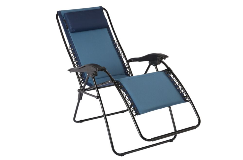 The home depot multi position zero gravity chaise in blue for Chaise longue multi positions
