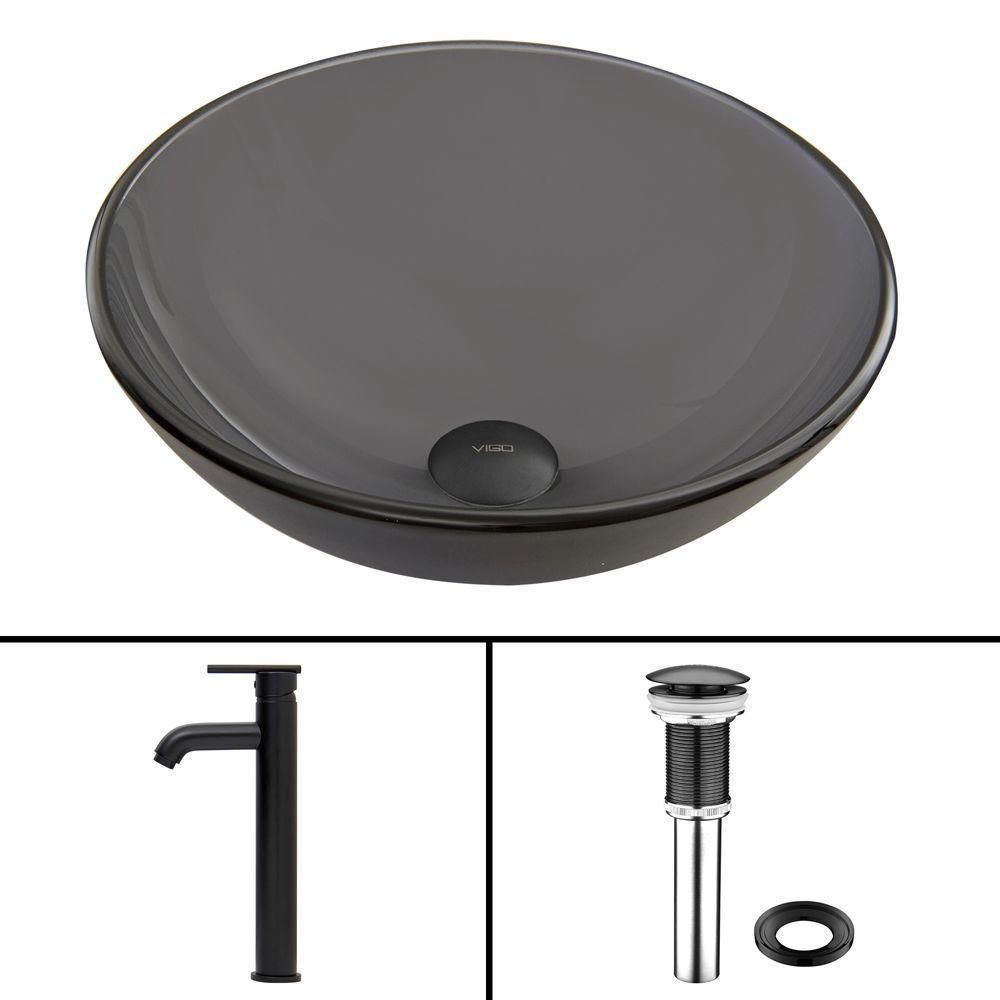 Glass Vessel Sink in Sheer Black Frost with Seville Faucet in Matte Black