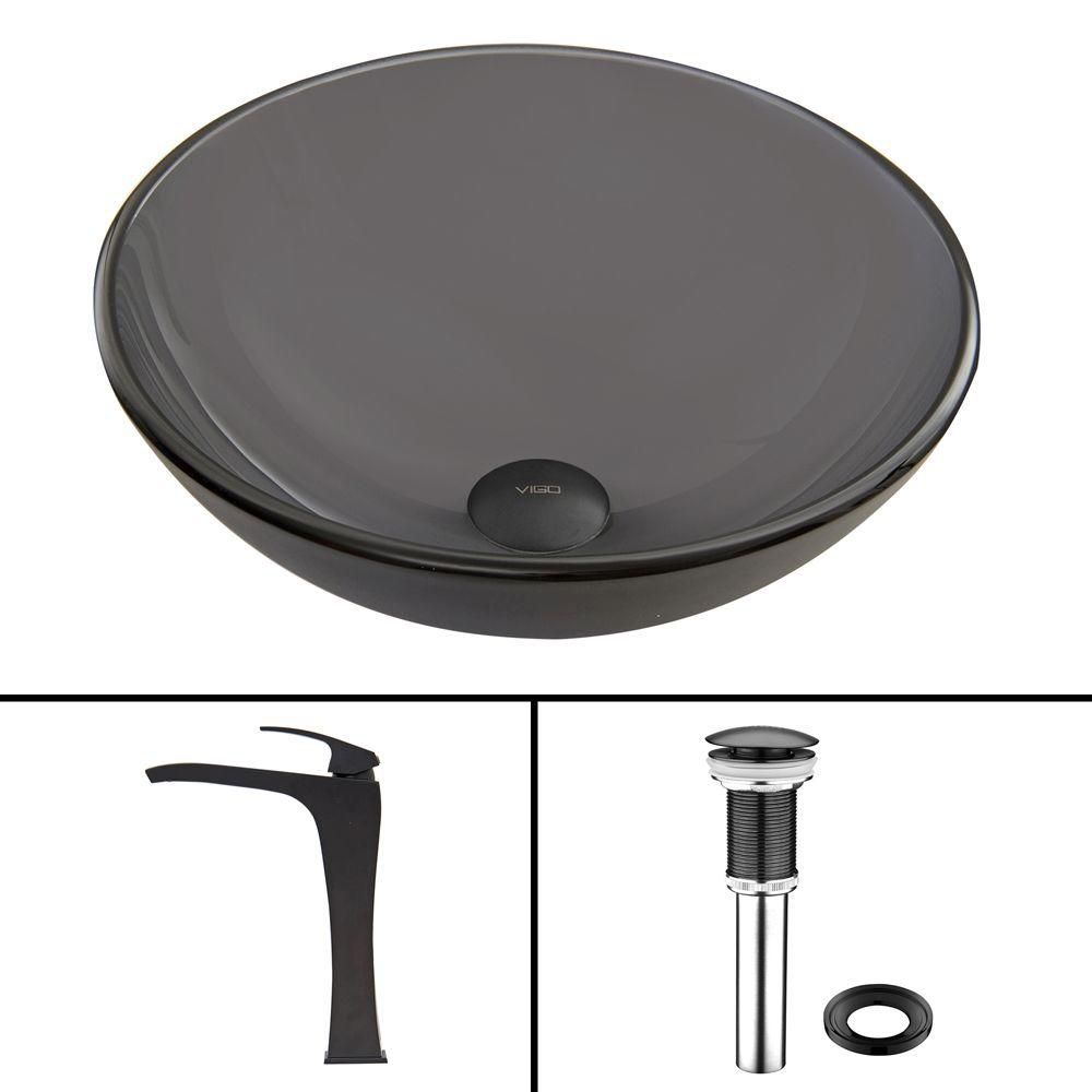 Glass Vessel Sink in Sheer Black Frost with Blackstonian Faucet in Matte Black
