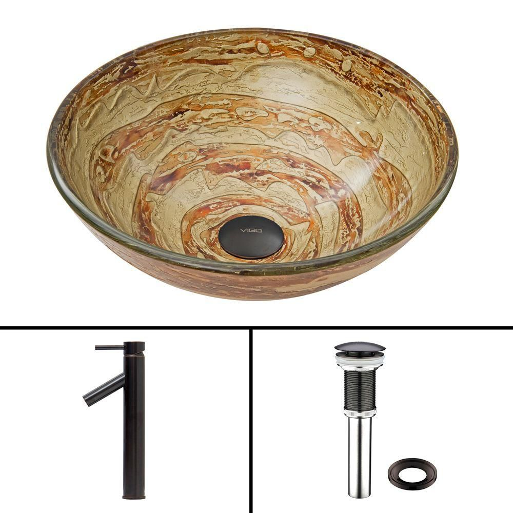 Glass Vessel Sink in Mocha Swirl with Dior Faucet in Antique Rubbed Bronze
