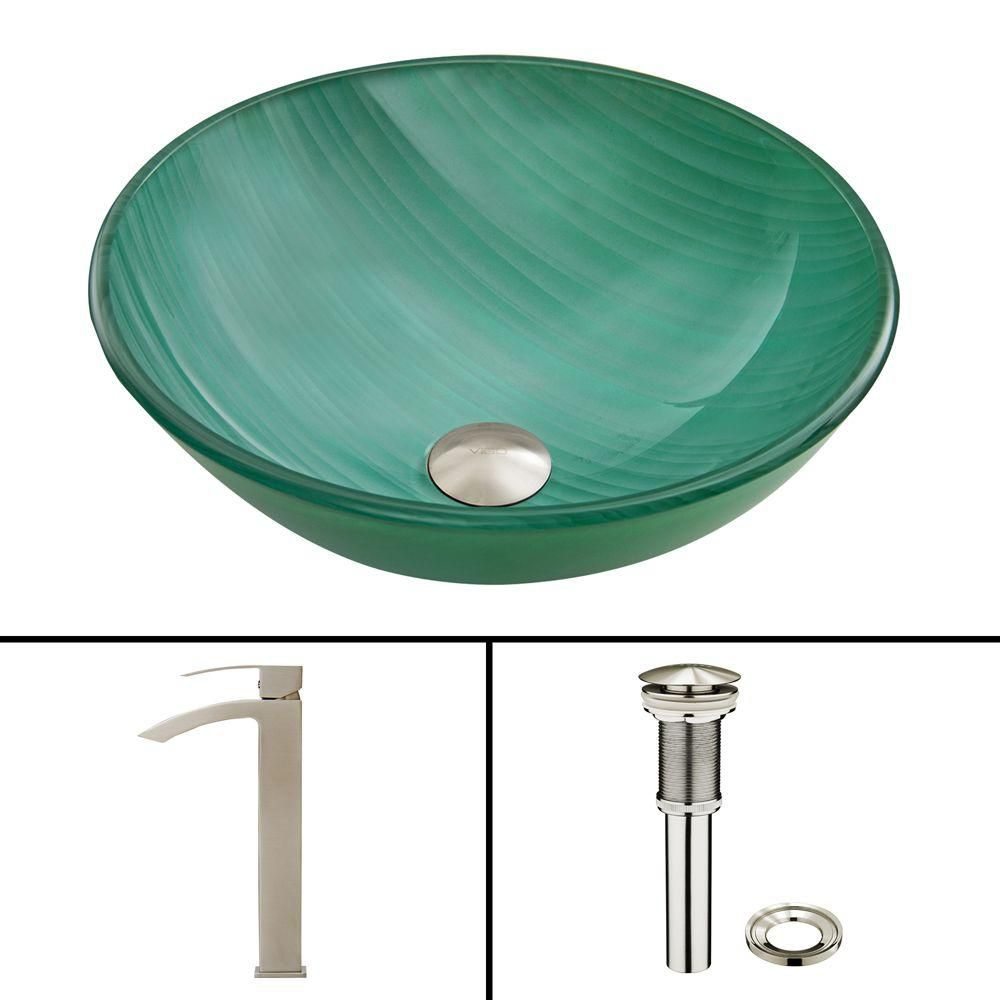 Glass Vessel Sink in Whispering Wind with Duris Faucet in Brushed Nickel