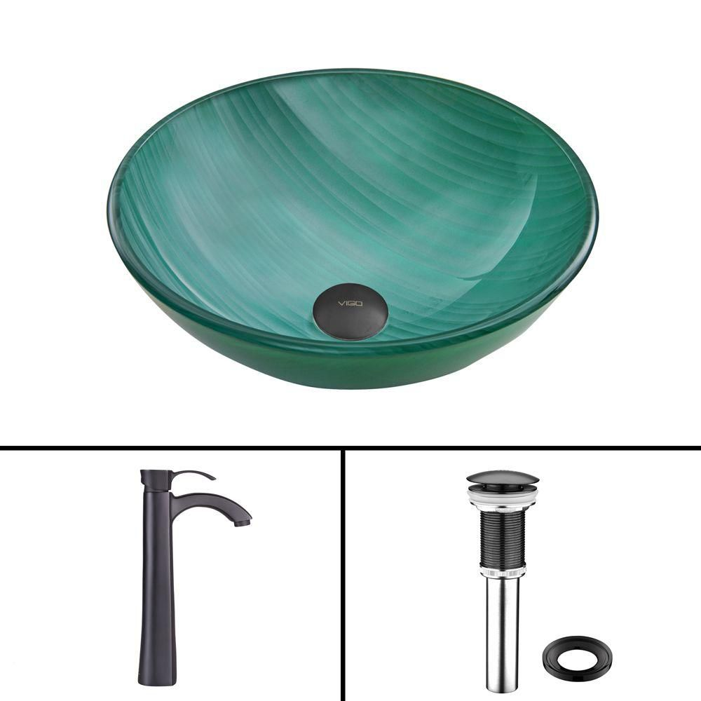 Glass Vessel Sink in Whispering Wind with Otis Faucet in Matte Black