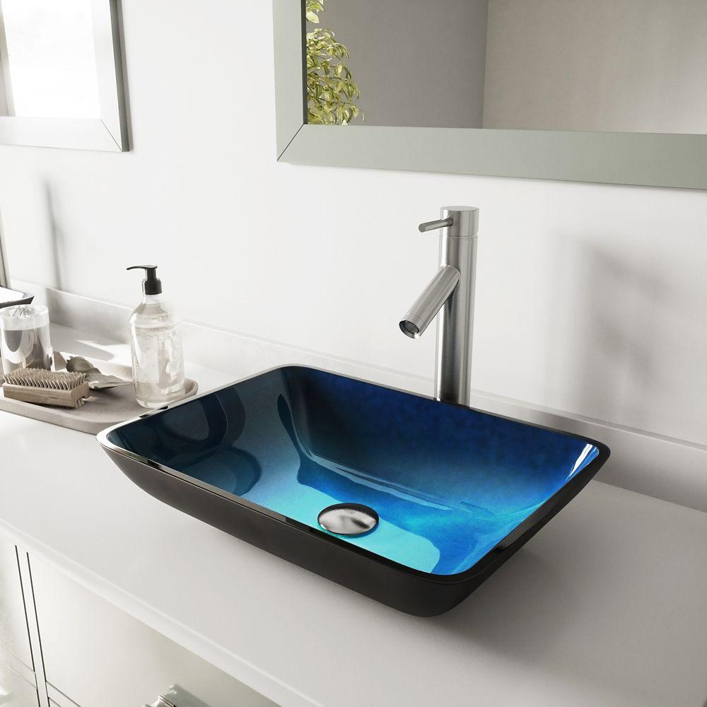 Ensemble Rectangular Turquoise Lavabo en verre et robinet Dior en nickel brossé