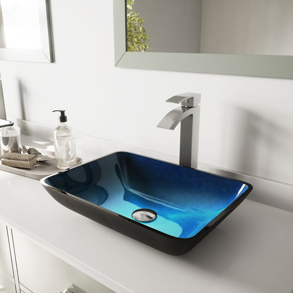 Glass Vessel Sink in Rectangular Turquoise Water with Duris Faucet in Brushed Nickel