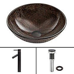 VIGO Glass Vessel Bathroom Sink in Copper Shield and Dior Faucet Set in Antique Rubbed Bronze