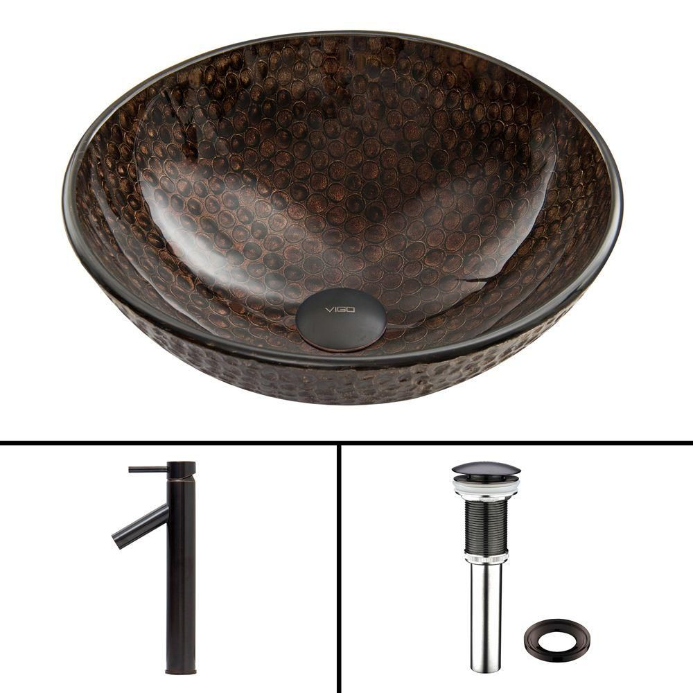 Glass Vessel Sink in Copper Shield with Dior Faucet in Antique Rubbed Bronze