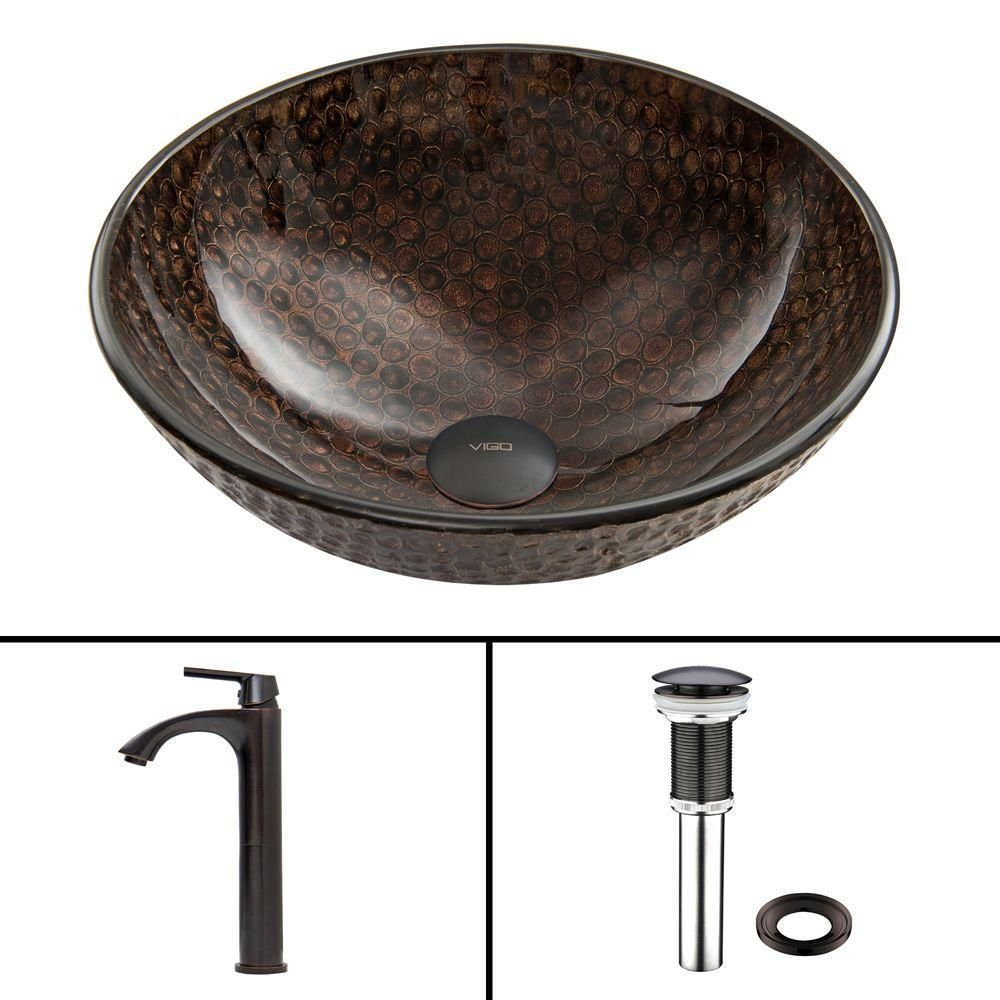 Glass Vessel Sink in Copper Shield with Linus Faucet in Antique Rubbed Bronze