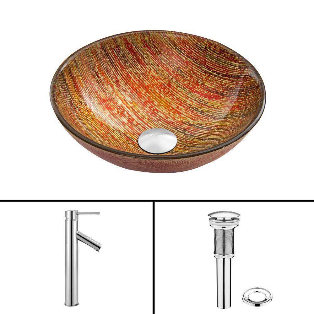 Ensemble Blazing Fire Lavabo en verre et robinet Dior en chrome