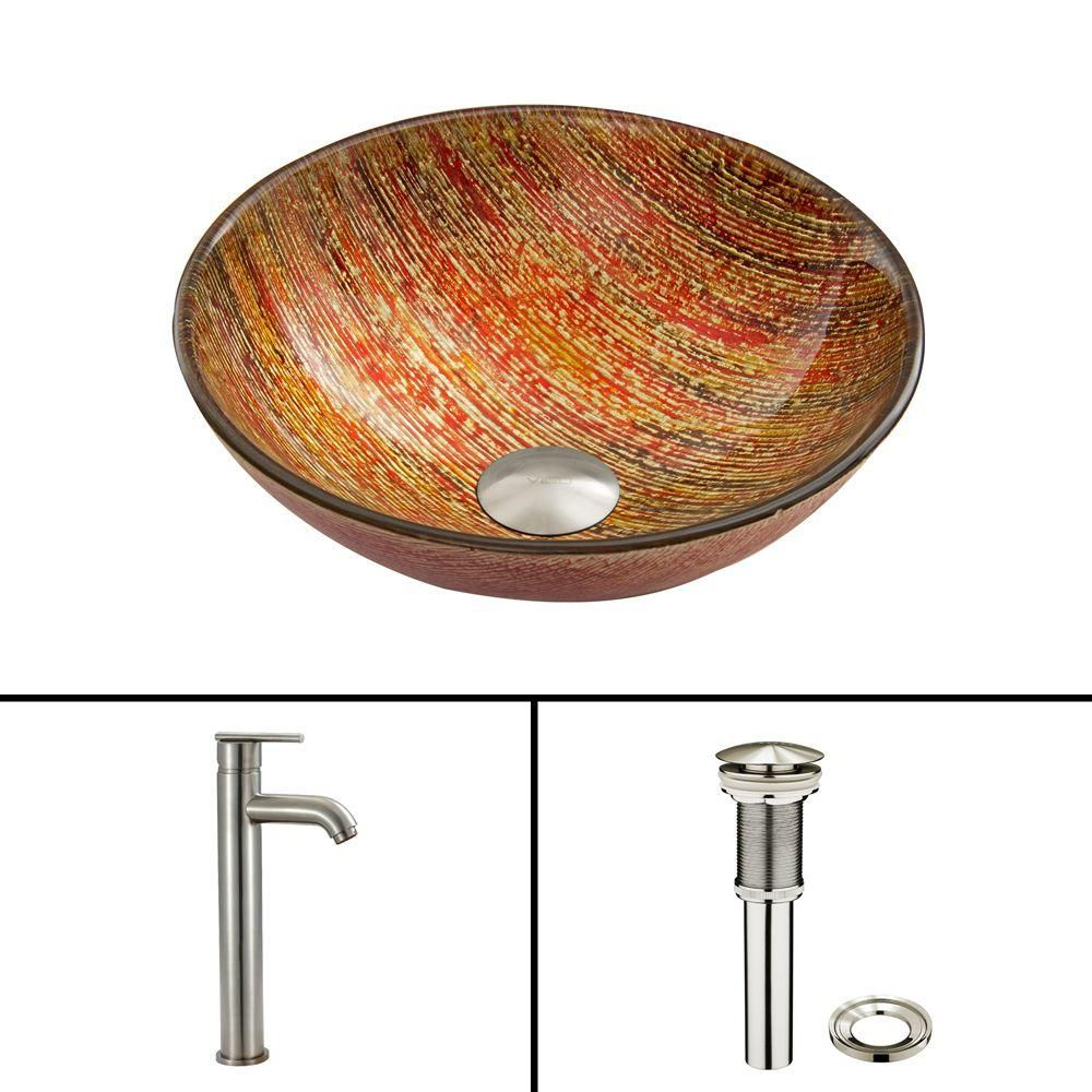 Glass Vessel Sink in Blazing Fire with Seville Faucet in Brushed Nickel