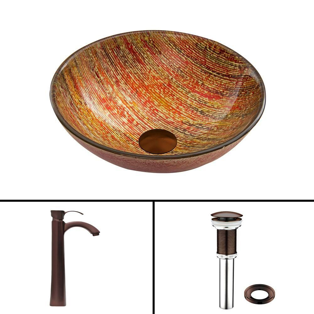 Glass Vessel Sink in Blazing Fire with Otis Faucet in Oil-Rubbed Bronze