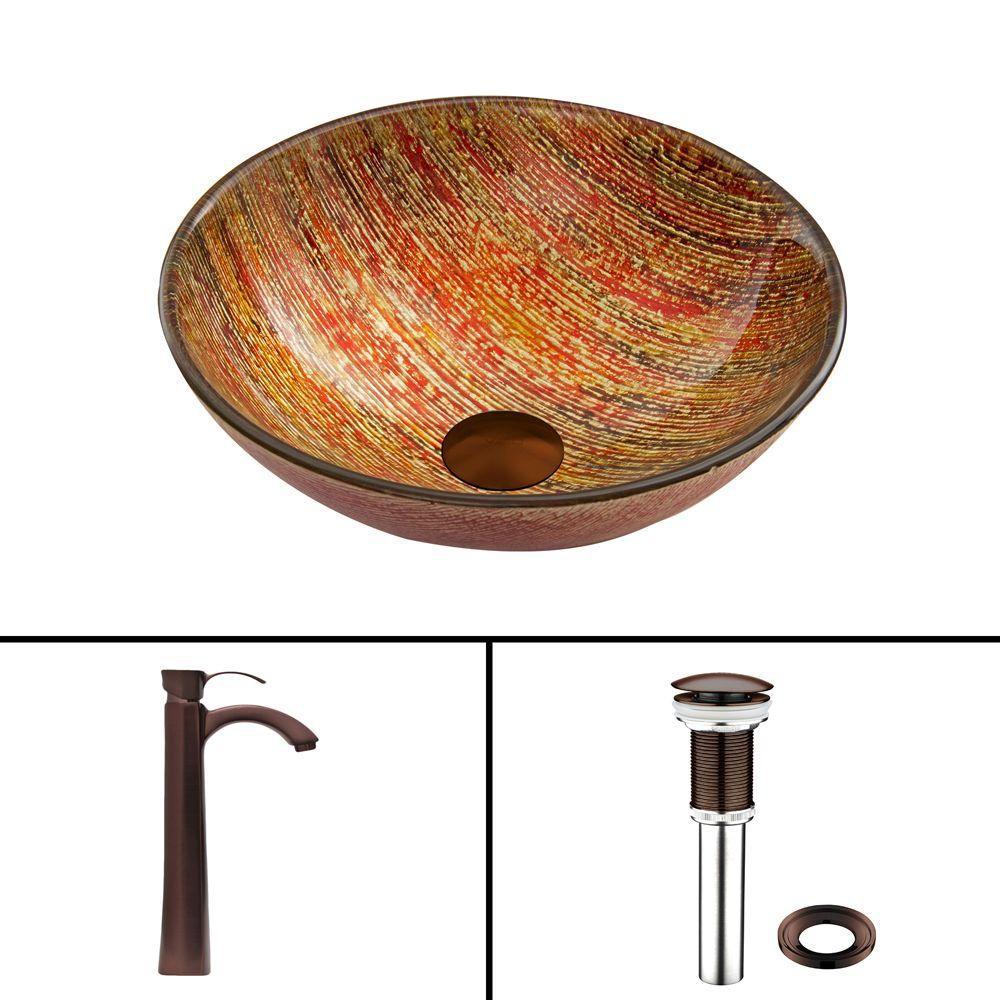 Ensemble Blazing Fire Lavabo en verre et robinet Otis en bronze huilé