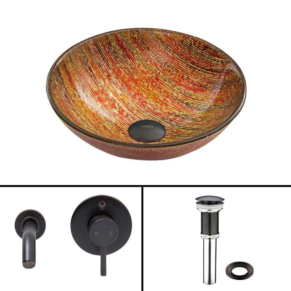 Glass Vessel Sink in Blazing Fire with Olus Wall-Mount Faucet in Antique Rubbed Bronze