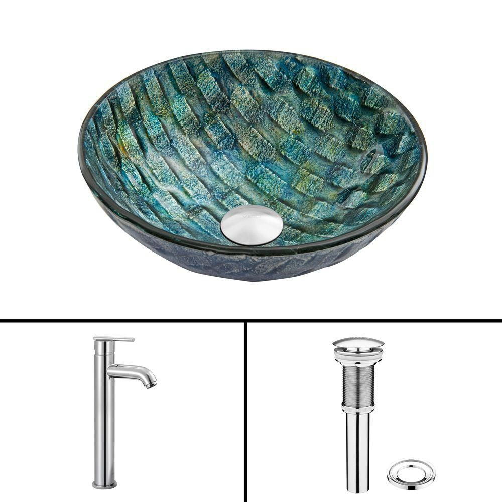 Vigo Glass Vessel Sink in Oceania with Seville Faucet in Chrome