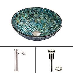 VIGO Glass Vessel Sink in Oceania with Otis Faucet in Brushed Nickel