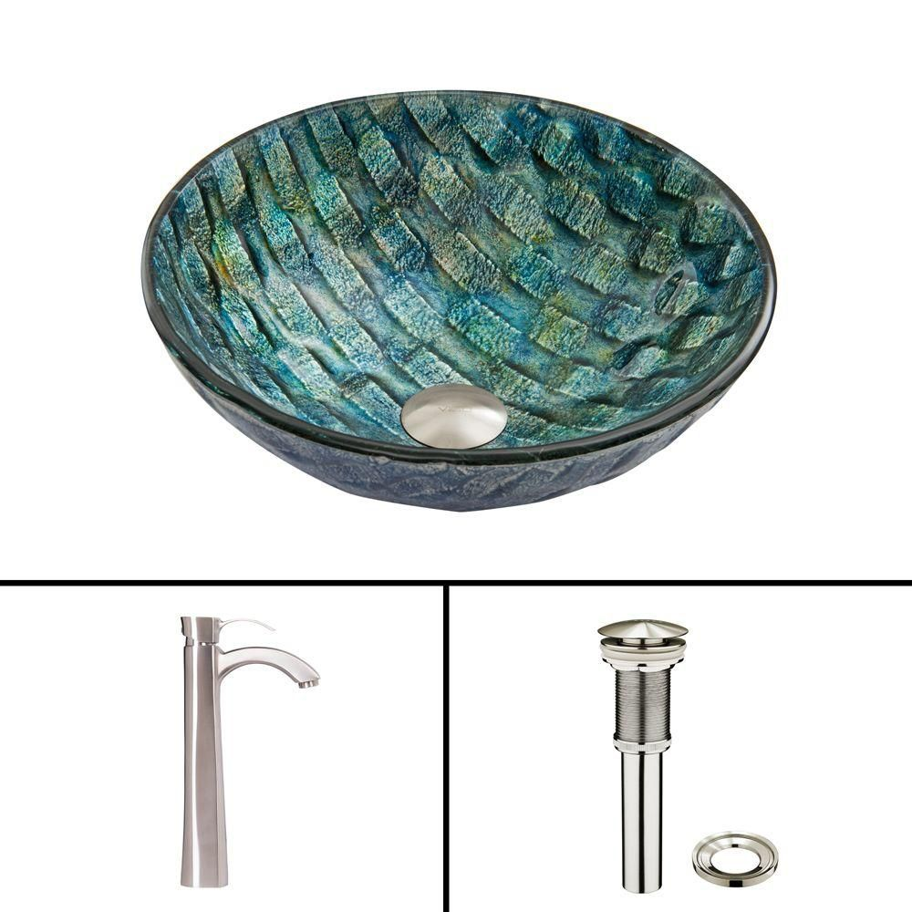 Vigo Glass Vessel Sink in Oceania with Otis Faucet in Brushed Nickel