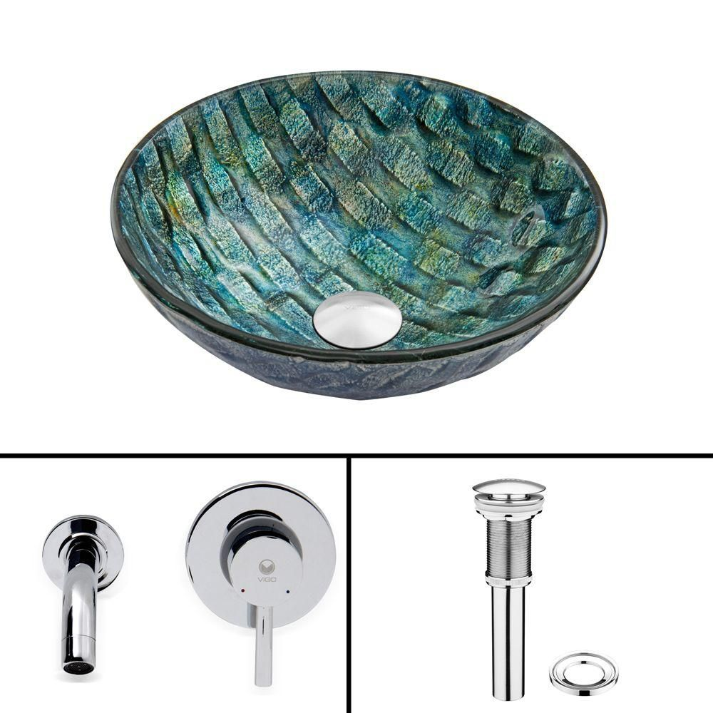 Vigo Glass Vessel Sink in Oceania with Olus Wall-Mount Faucet in Chrome